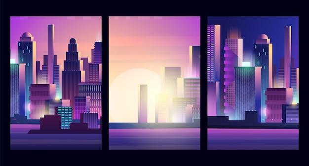 Świecący krajobraz miasta. cyberpunk styl miejski, futurystyczny neon szablon banery wektor wieżowiec. ilustracja miejski pejzaż nowoczesny, panorama miejska