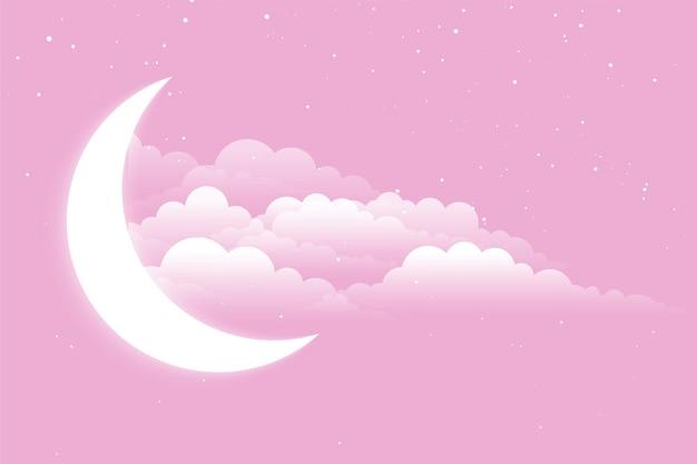 Świecący księżyc z chmurami i gwiazdami w tle