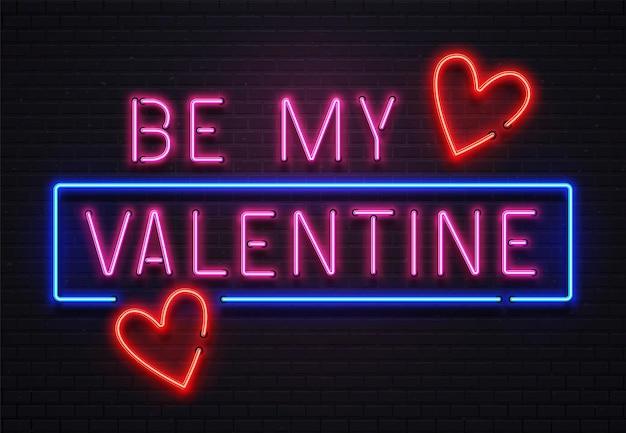 Świecący neon będzie moim napisem walentynkowym na uroczystość. romantyczny podświetlany szyld led na tło kawiarni lub klubu nocnego z sercami. błyszczący tekst na ilustracji wektorowych ściany z cegły
