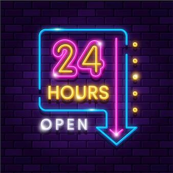 Świecący neon otwarty dwadzieścia cztery godziny znak