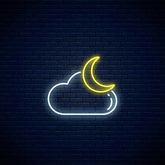 Świecący neon pochmurny z ikoną pogody księżyca. symbol chmury z księżycem w neonowym stylu do prognozy pogody w aplikacji mobilnej
