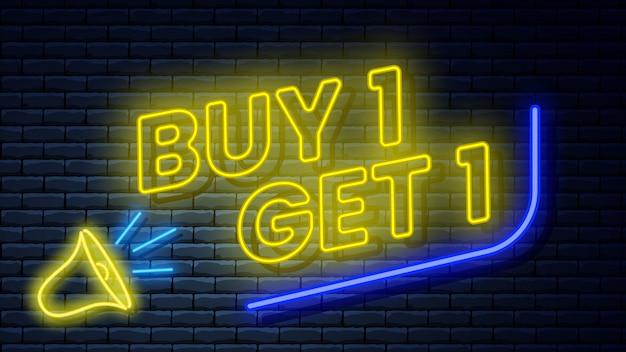 Świecący neon szyld na ścianie z cegły. ilustracja.