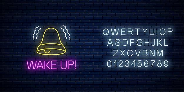 Świecący neon z dzwonkiem i obudź tekst z alfabetem na tle ciemnego ceglanego muru. wezwanie do działania symbol z wiwatującym napisem. czas wstawać. ilustracja wektorowa.