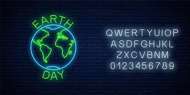 Świecący neon znak światowego dnia ziemi z symbolem globu i tekstem powitania z alfabetem na powierzchni ściany z ciemnej cegły. transparent neon dzień ziemi. ilustracja.