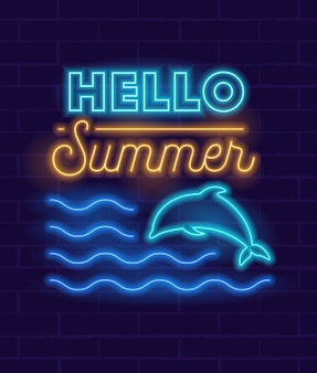 Świecący neonowy znak letniego rozpoczęcia imprezy ze świecącymi delfinami skaczącymi po falach oceanu dla klubu lub baru na ciemnym tle