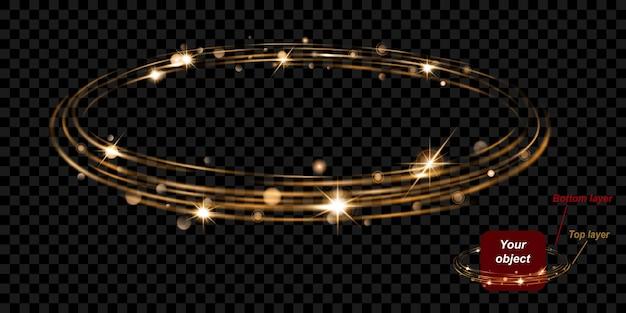 Świecący pierścień ognia z brokatem składa się z dwóch warstw