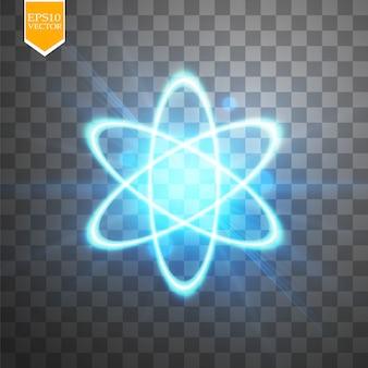 Świecący schemat atomów na przezroczystym tle