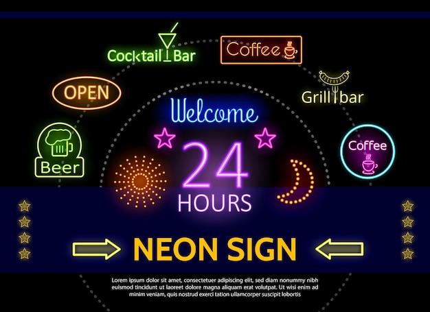 Świecący szablon neonowych znaków promocyjnych