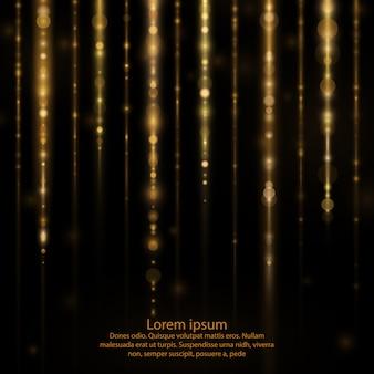Świecący złoty blask, opadające świetliste cząsteczki.
