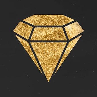 Świecący złoty diament ikona