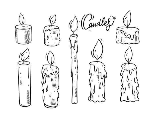 Świece doodle zestaw ilustracji