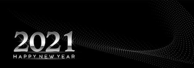 Świeci szczęśliwego nowego roku 2021 na czarno