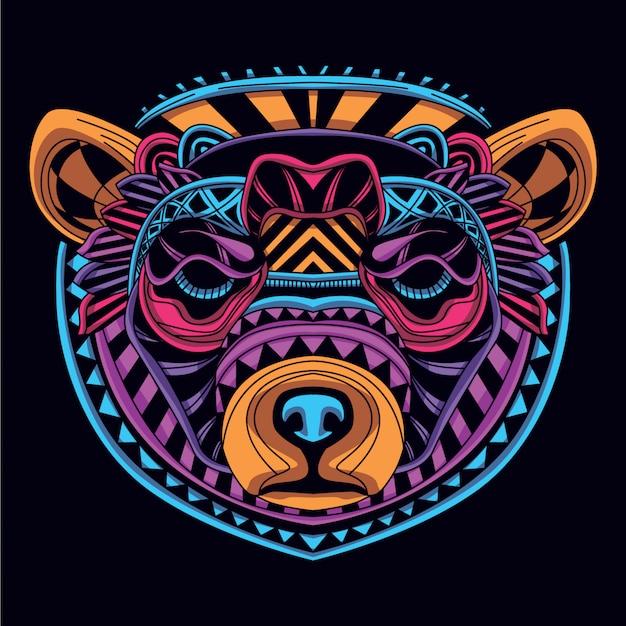 Świecić w ciemnej ozdobnej głowie niedźwiedzia z neonowego koloru