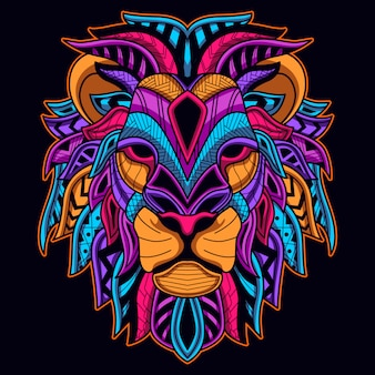 Świecić w ciemnym neonowym kolorze głowy lwa