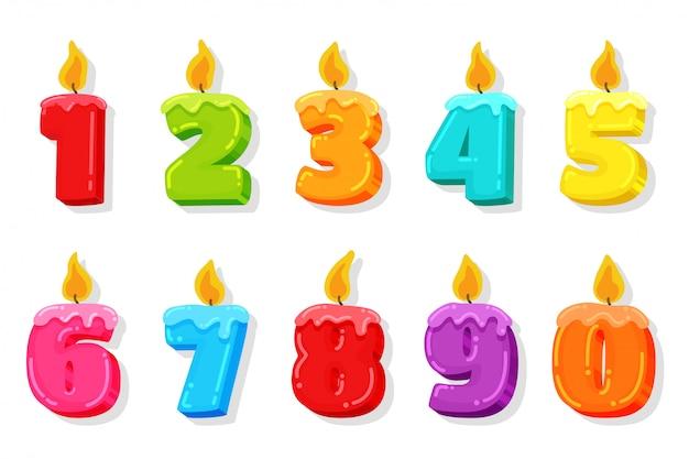 Świeczka urodzinowa. numery świec ilustracji