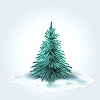 Świerkowa choinka z realistycznymi zielonymi igłami z zimowym śniegiem