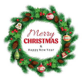 Świerkowy wieniec z życzeniami wesołych świąt i szczęśliwego nowego roku