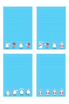 Święta bożego narodzenia lub nowy rok do zrobienia listy, notatki z ilustracjami zimowymi