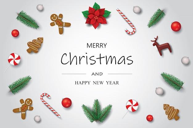 Święta bożego narodzenia ozdoba ozdoba rama tło