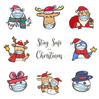 Święta bożego narodzenia podczas covid wear mask zachowują bezpieczeństwo kolekcji postaci