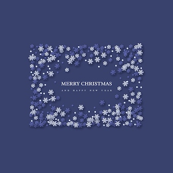 Święta bożego narodzenia rama z płatkami śniegu w stylu cięcia papieru. ciemnoniebieskie tło z tekstem powitania, ilustracji wektorowych.