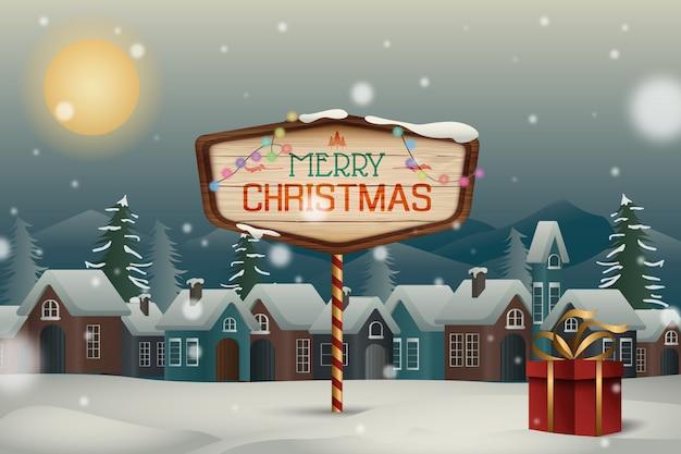 Święta bożego narodzenia śnieżna noc w tle księżyca