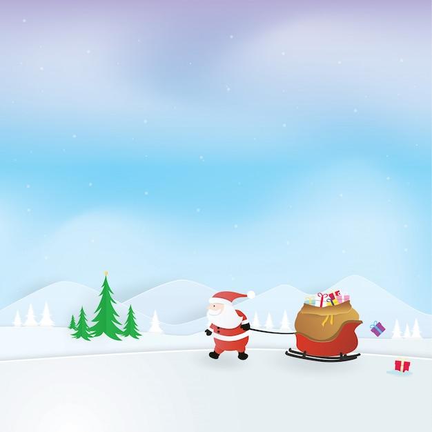 Święta bożego narodzenia, szczęśliwego nowego roku, święty mikołaj ciągnąc sanie pełne prezentów, wektor craft, projekt