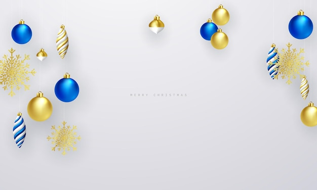 Święta bożego narodzenia tło ze złotymi i niebieskimi bombkami dla ilustracji wektorowych kart z pozdrowieniami
