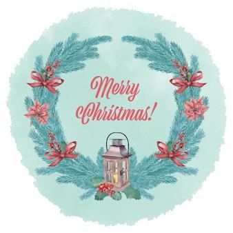 Święta bożego narodzenia wieniec z latarnią