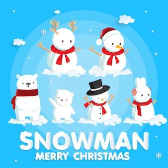Święta bożego narodzenia z cute santa i renifery na kartki świąteczne w stylu cięcia papieru