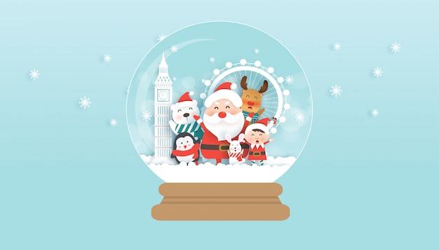 Święta bożego narodzenia z mikołajem, elfem i uroczymi zwierzętami w londynie