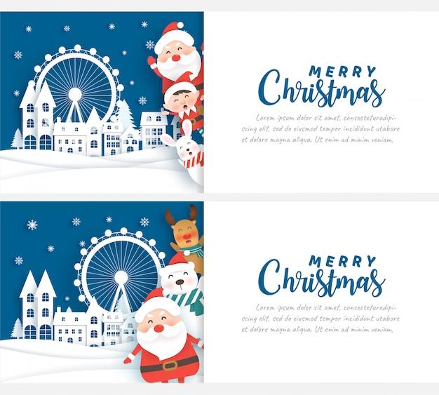Święta bożego narodzenia z mikołajem w wiosce śniegu na kartki świąteczne