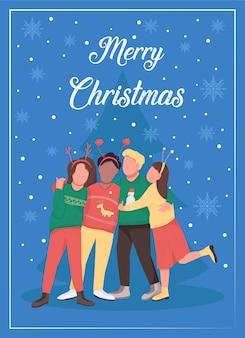 Święta bożego narodzenia z przyjaciółmi płaski szablon karty z pozdrowieniami. świętuj ferie zimowe w grupie. broszura, broszura projekt jednej strony z postaciami z kreskówek. wesołych świąt bożego narodzenia ulotka, ulotka