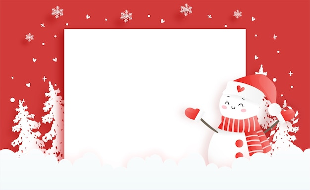 Święta bożego narodzenia z uroczym bałwanem na kartkę świąteczną w stylu cięcia papieru
