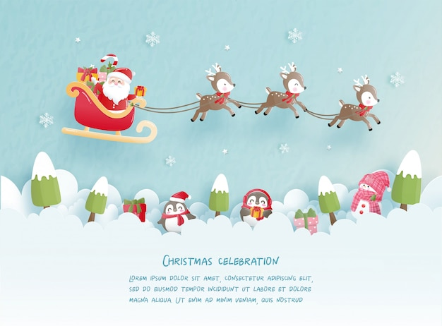 Święta bożego narodzenia z uroczym mikołajem i reniferem na kartki świąteczne w stylu cięcia papieru. ilustracji wektorowych
