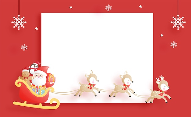 Święta bożego narodzenia z uroczym mikołajem i reniferem z wózkiem, szablon boże narodzenie
