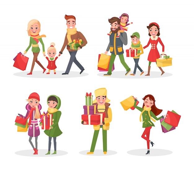 Święta bożego narodzenia zakupy, rodzina i przyjaciele
