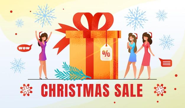 Święta bożego narodzenia zakupy sprzedaż płaski transparent wektor