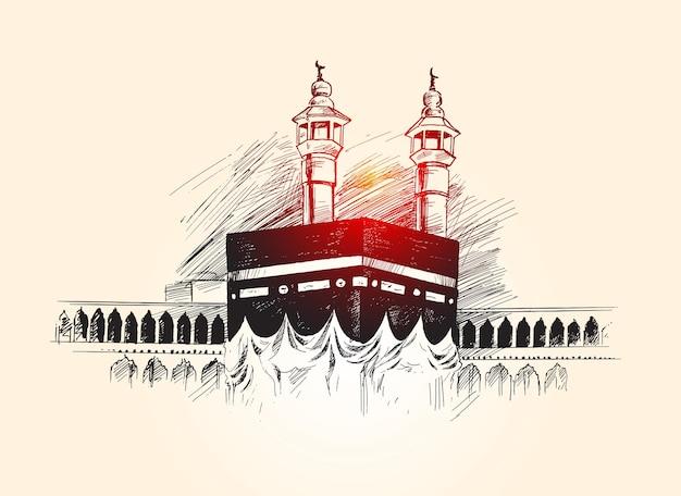 Święta kaaba w mekce arabia saudyjska ręcznie rysowane szkic ilustracji wektorowych