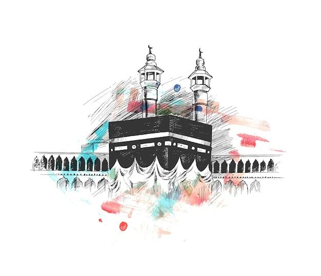Święta kaaba w mekce arabii saudyjskiej, ręcznie rysowane szkic wektor ilustracja.