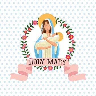 Święta mary kobiety dziewczyny dziecka jesus kreskówki religii świątobliwa ikona