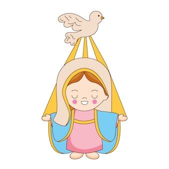Święta maryja z kreskówką ducha świętego. ilustracja wektorowa