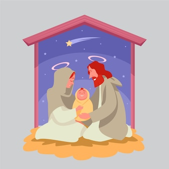 Święta rodzina i złota spadająca gwiazda