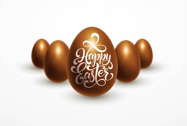 Święta wielkanocne z czekoladowymi jajkami na białym z napisem happy easter.