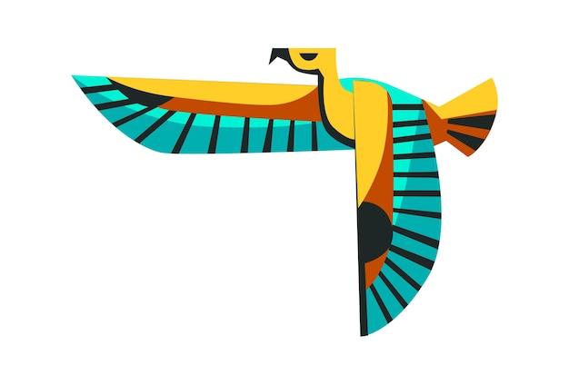 Święte zwierzę starożytnego egiptu, latający sokół, ucieleśnienie boga słońca ra horusa, ilustracja kreskówka wektor
