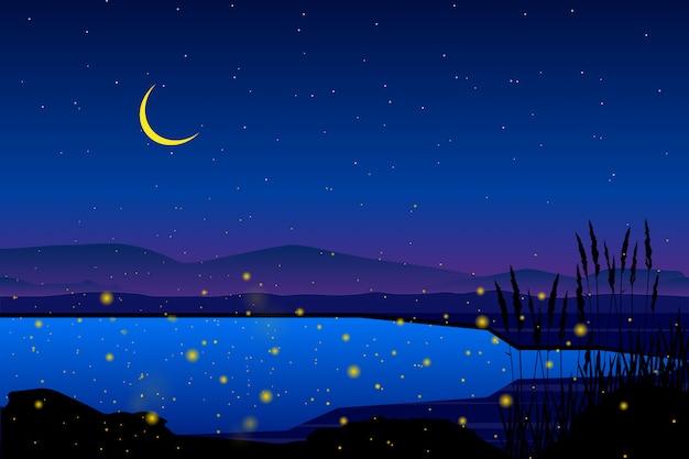 Świetlik na morzu z gwiaździstą nocą i kolorowym niebo krajobrazem