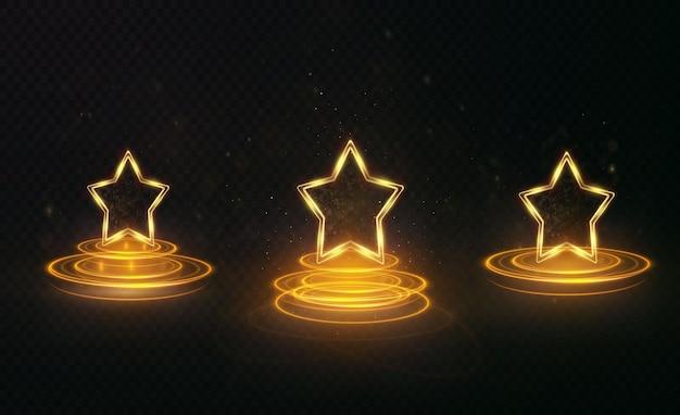 Świetlista świąteczna złota gwiazda pusta ze złotymi liniami podkreślającymi efekty