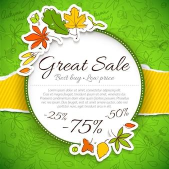 Świetna jesienna kompozycja sprzedaży z nagłówkami najlepszych cen surowych i różnymi wyprzedażami