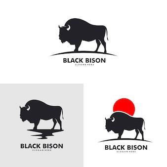 Świetna koncepcja projektowania prostego płaskiego logo dzikiego żubra