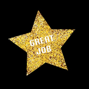 Świetna robota złota brokat gwiazda na czarnym tle